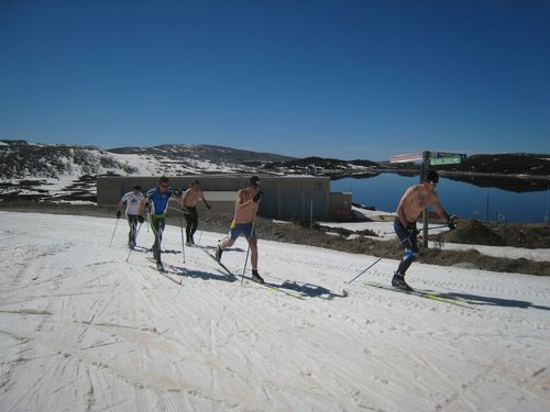 Spring skiing sprint relay